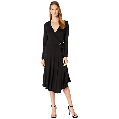 Three Dots Refined Jersey Wrap Dress w/ Grommet Detail (Black) Women