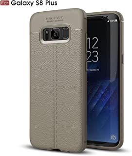 Galaxy S8 Plus Case, AUSURE [Leather Texture Pattern] Slim Fit Soft Premium Silicon Shockproof Luxury Imitation Leather Striae Design Protection Cover for Samsung Galaxy S8 Plus (Gray)