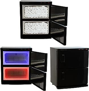 Black High Capacity Double-Decker Hot Towel Cabinet & Ultraviolet Sterilizer 48 Towels Included Salon Spa Beauty Equipment