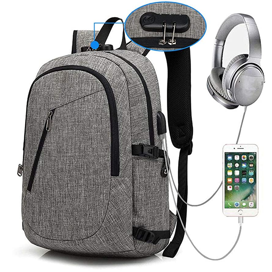 Business Laptop Backpack, Travel College School Computer Bag With USB Charging Port and Headphone Jack, Durable Waterproof Bag Boy Girl Ladies Men, Suitable for 15.6-inch Laptop Notebook (gray)