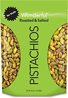 Wonderful Pistachios, No Shells, Roasted and Salted, 24 Ounce Resealable Bag