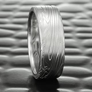 Flat Damascus Steel Wedding Band for Men   SWIRLING CURRENT