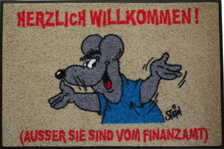 Wash+Dry Wash+Dry Wash+Dry Waschbare Fußmatte - ©Uli Stein - Maus - Finanzamt ca 50x75cm lustiger Fußabstreifer mit Cartoon Motiv B008I32PXG b0b809