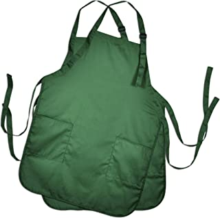 DALIX Apron Commercial Restaurant Home Bib Spun Poly Cotton Kitchen Aprons (2 Pockets) in Dark Green 2 Pack