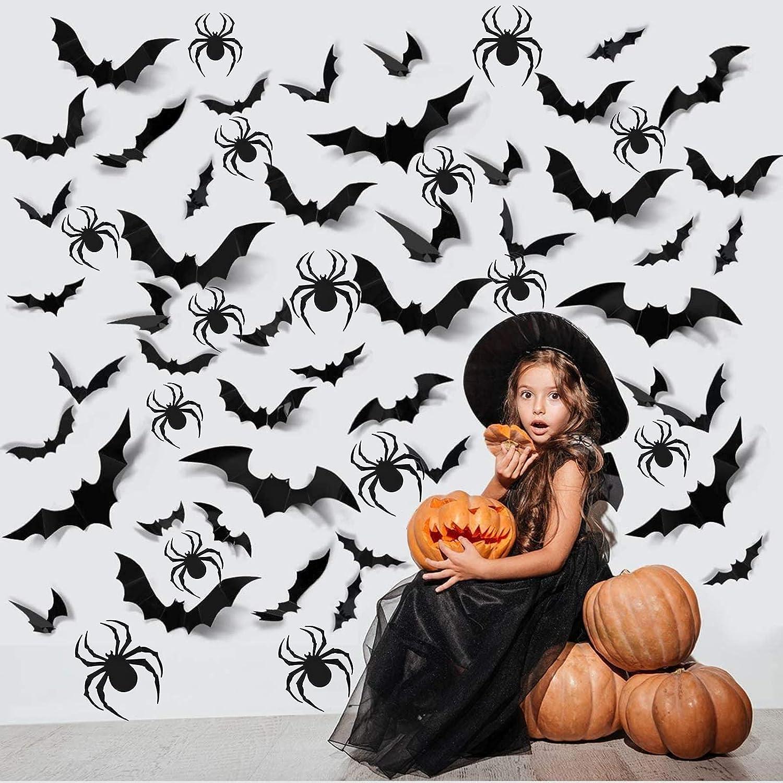 20PCS Halloween Party Decorations Bat Spider Stickers Decor PVC 20D Scary  Bats Spider, DIY Halloween Wall Decor Indoor Stickers Decor Fear Decal Home  ...