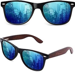 GQUEEN Occhiali da Sole Polarizzati Classici Rettangolari in Legno per Uomo Donna Protezione UV MOS07