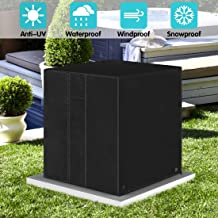 ZNCMRR Square Central Air Conditioner Cover, Durable Waterproof Winter Heavy Duty Outdoor Air Conditioner Cover with Vent (Black, 26