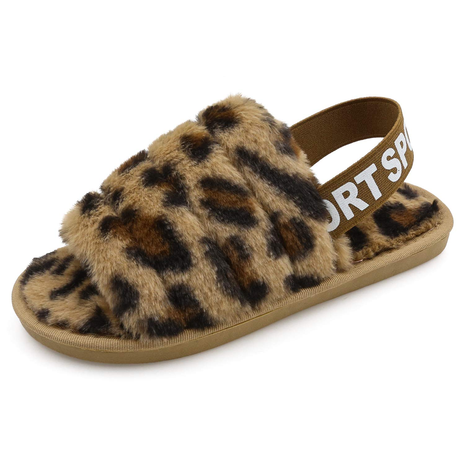 Womens Fluffy Fuzzy Slides Slipper Sandals Leopard Print Soft Warm Comfy Cozy Bedroom House Indoor Outdoor Slippers Sandals with Elastic Strap
