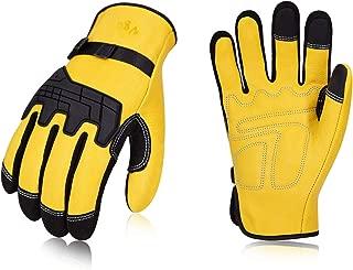 Vgo 3Pairs Premium Cow Grain Leather Work Gloves (Size L,Gold,CA1012)