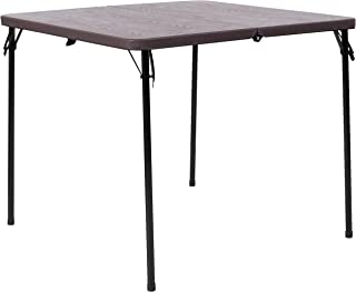 Flash Furniture 3-Foot Square Bi-Fold Brown Wood Grain Plastic Folding Table with Carrying Handle