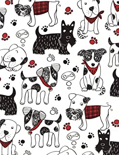 Timeless Treasures Scribble Dogs Quilt Fabric Black White Style C4672