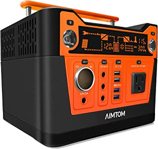 AIMTOM 300-Watt Portable Power Station - 280Wh Battery Powered Generator Alternative with 12V, 24V, AC and USB Outputs - Solar Rechargeable Lithium Backup Power - for Camping Outdoors CPAP Emergency