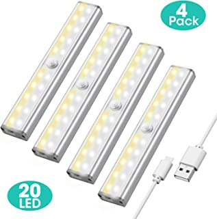 Closet Light Under Cabinet Lighting - 20 LED Motion Sensor Light Bulb with 3 Color Modes - 4 Pack Rechargeable Cabinet Lights & 6 Magnetic Strip - Easy to Stick-on Cabinet Closet Stair with 3M Sticker