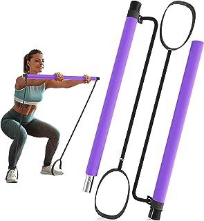 ALAMATA Portable Yoga Exercise Pilates Bar Kit with Resistance Band Set, Adjustable Yoga Straps Pilates Stick Exercise for...