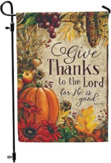 Jolly Jon Give Thanks to The Lord - Autumn Welcome Garden Flag - Thanksgiving Pumpkin Fall Design - One Sided Outdoor Yard...