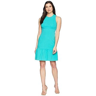 Donna Morgan Crepe Sheath Dress with Flounce (Sea Green) Women