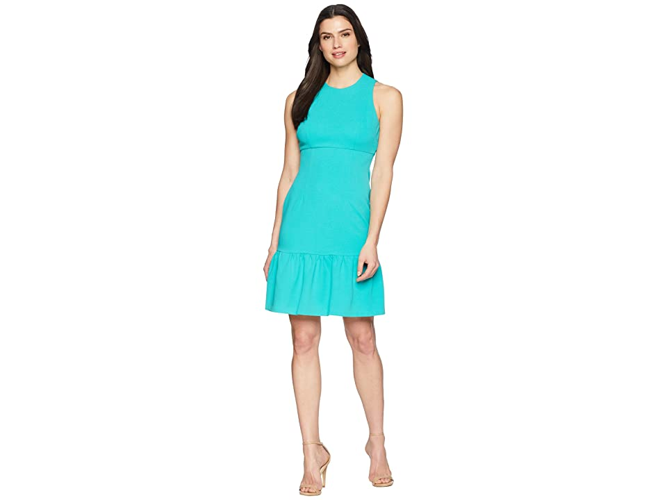 Donna Morgan Crepe Sheath Dress with Flounce (Sea Green) Women