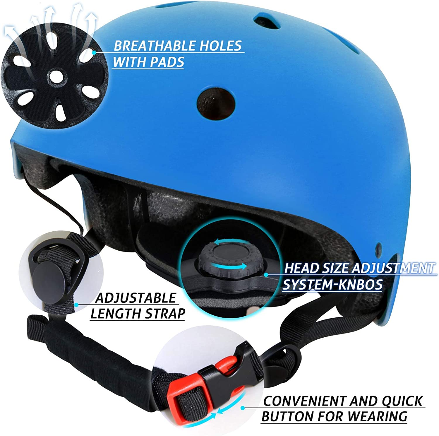 Kids Youth Toddler Helmet Adjustable Protective Gear Set with Knee Pads Elbow Pads Wrist Guards for Skateboard Roller Skating Scooter Cycling CRZKO Kids Helmet and Knee Pads Set