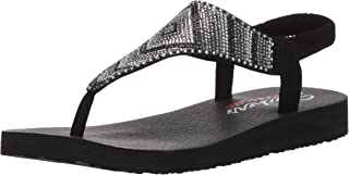 Skechers Womens 31769 Meditation - Gypsy Glam - Hooded Aztec Rhinestone Slingback Thong Black Size: 10