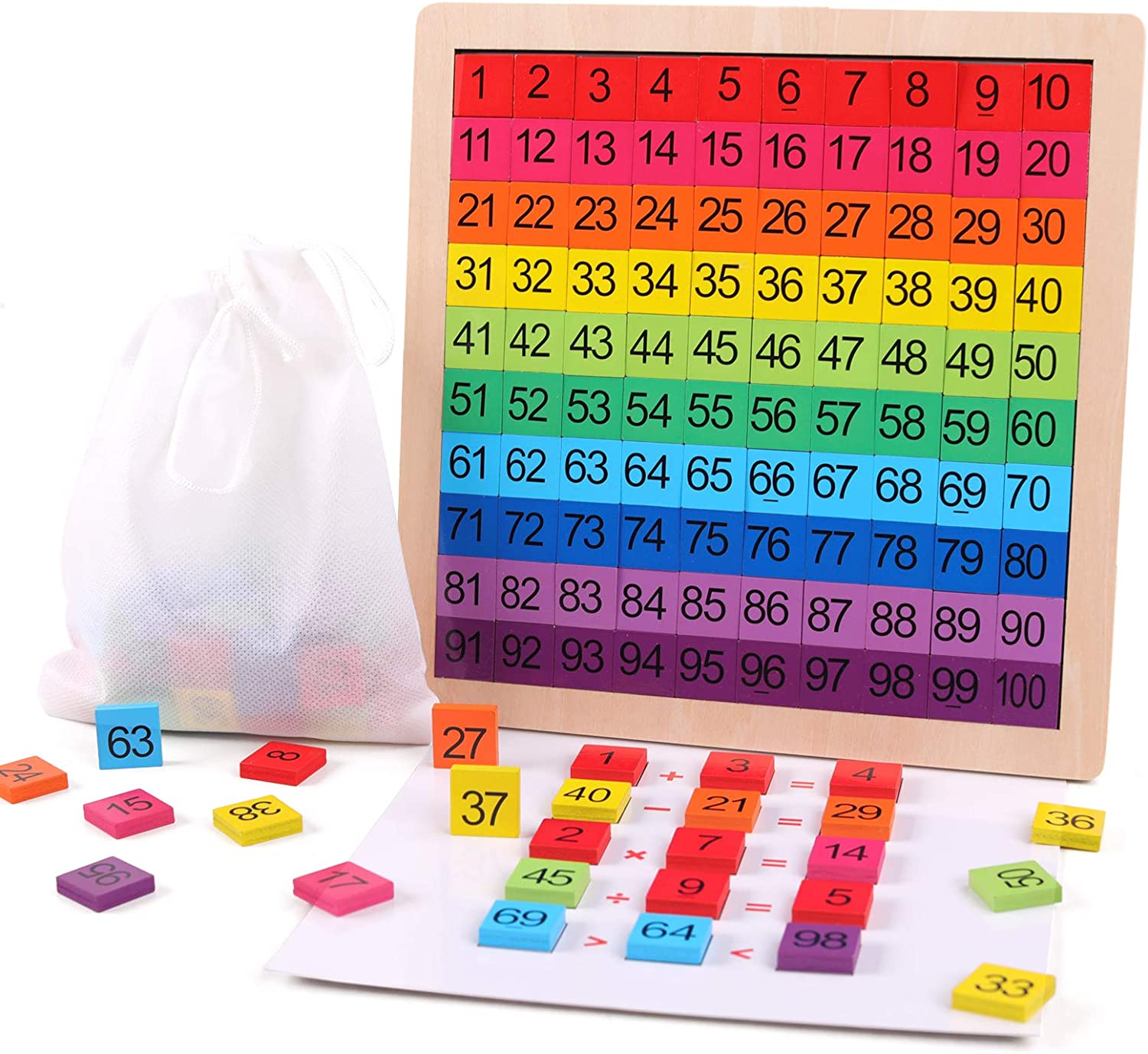 GEMEM Wooden Montessori Math Counting Hundred Board Toys, 1-100 Consecutive Numbers Learning & Educational Game Toy for Kids Toddlers 3 Year Old with Storage Bag