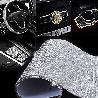 "HOB4U 18000 Pcs Bling Crystal Rhinestone DIY Self-Adhesive Sparkling Rhinestone Stickers Sheet for Car Decoration Gift Decoration Phone Decoration, Silver, 9.4"" x 15.8"""