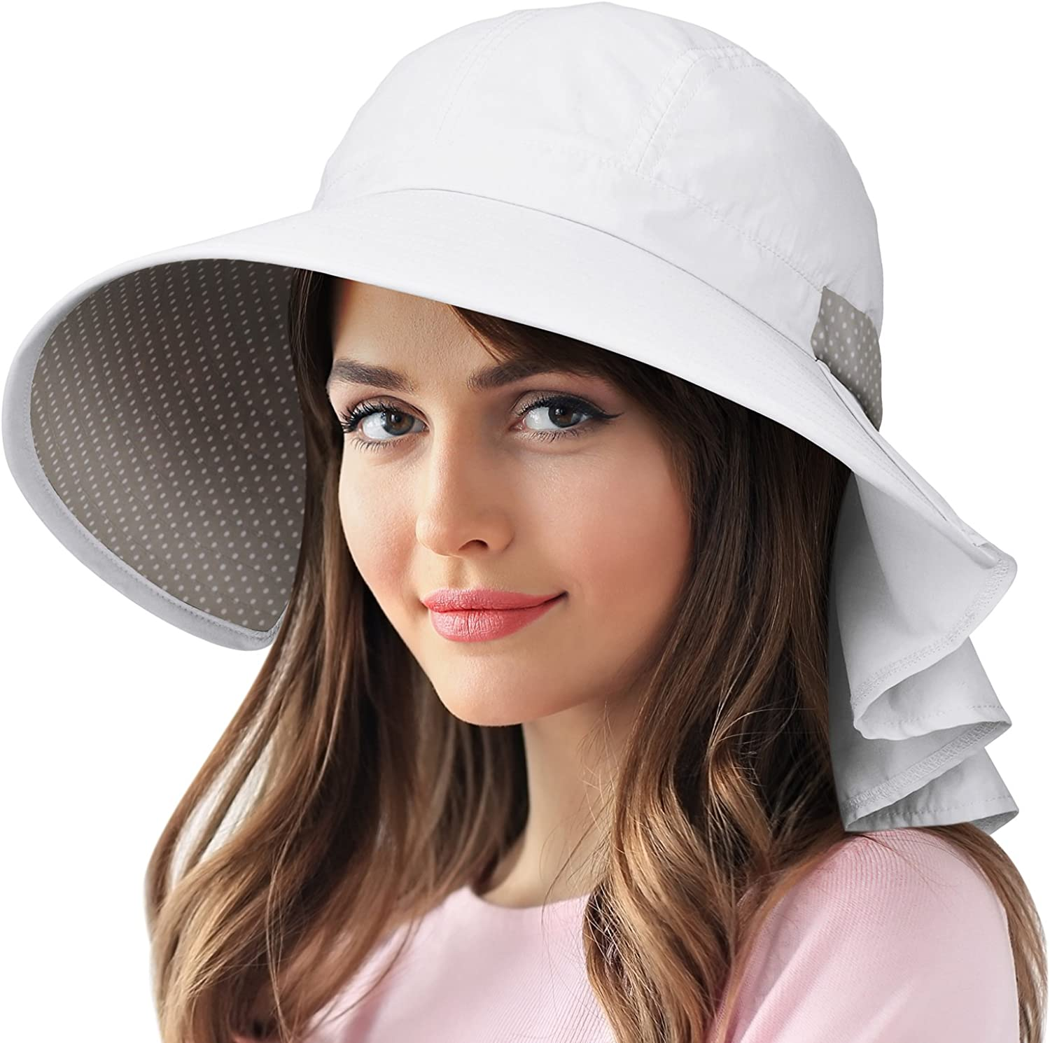 Catalonia Women's Wide Brim Sun Predection Hats with Flap Neck Cover for Traveling Hiking Safari Boating Driving Gardening