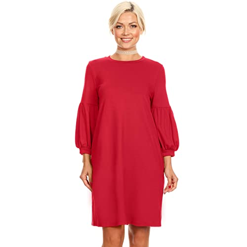 3c0e2f81cb3 Womens Long Puff Sleeves reg and Plus Size Dresses with Side Pockets - Made  in USA