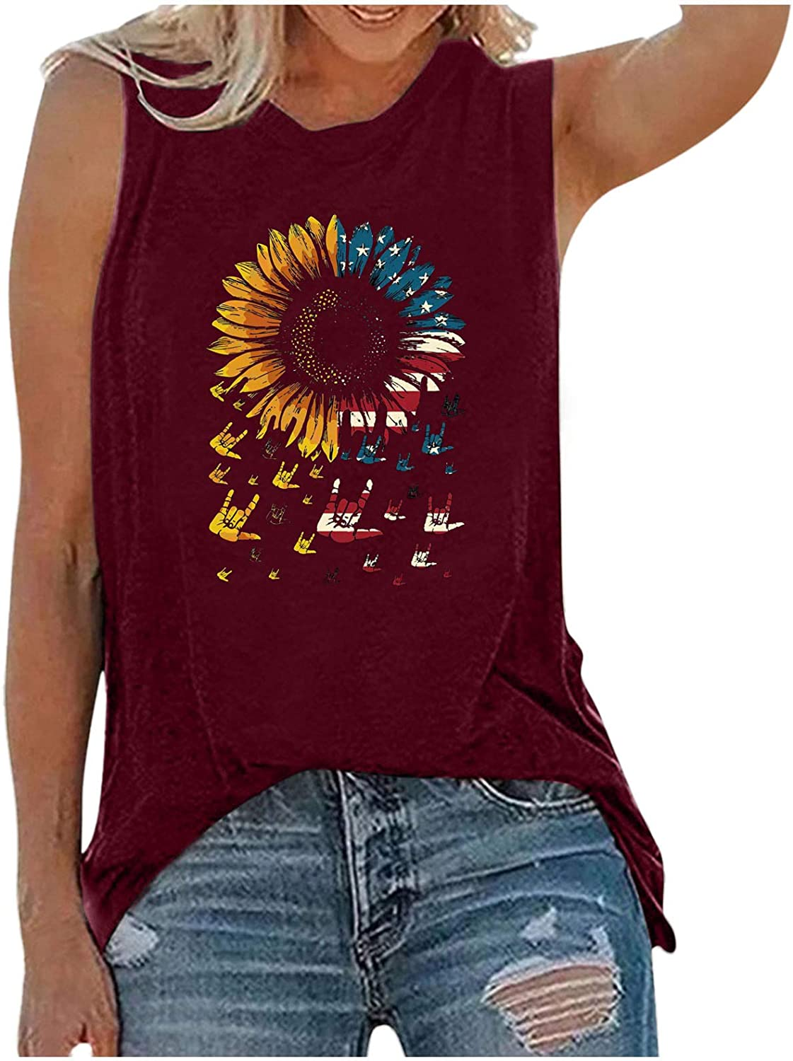 Womens Tops,Womens Tank Tops for Independence Day Womens Tank Tops Casual Sleeveless Graphic Tees