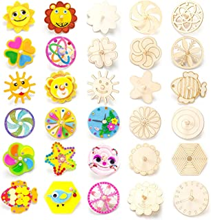 Coxeer 30PCS Spinning Top Spinning Toy Blank Paint DIY Wood Spin Top for Kids