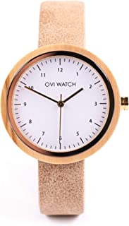 Reloj de Madera para Mujer, Caja de Madera Natural y Vegano Piel Correa, Reloj Ligero, Caja para Regalo de Madera, 36mm de...