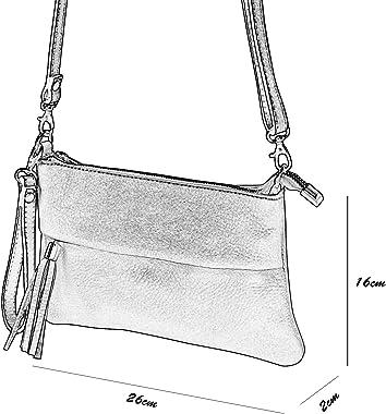 SH Leder Echtleder Umhängetasche Clutch kleine Tasche Abendtasche 26x16cm Gina G148