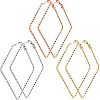 3 Pairs Hoop Earrings for Women - Stainless Steel Gold Plated Rose Gold Plated Silver Geometric Hypoallergenic Big Hoop Earrings Set.