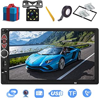 Double Din Car Stereo-7 inch Touch Screen,Compatible with BT TF USB MP5/4/3 Player FM Car Radio,Support Backup Rear View Camera, Mirror Link ,Caller ID, Upgrade The Latest Version