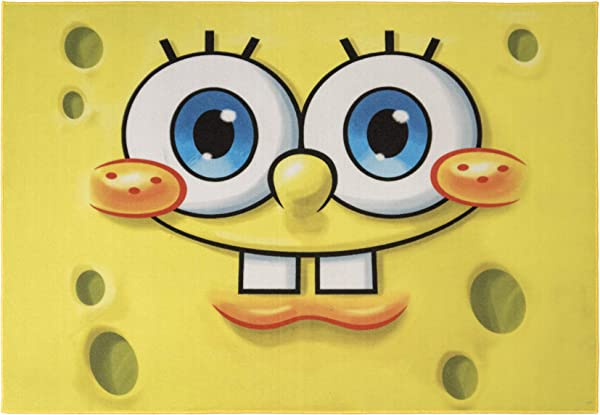 Gertmenian Nickelodeon Spongebob Rug Face Kids Carpet 5x7 Large Yellow