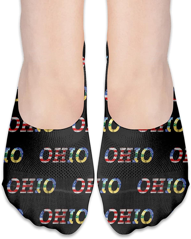 Seal Of Ohio State Flag America Flag No Show Socks Adult Short Socks Athletic Casual Crew Socks