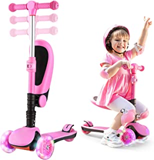 AOODIL Scooter for Kids 2-8 Years Old with Foldable Seat Extra-Wide PU 3 Wheels with LED Flashing Kick Scooter for Toddler...