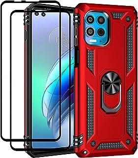 EasyLifeGo for Motorola Edge S/Motorola Moto G100 Kickstand Case with Screen Protector Tempered Glass [2 pieces], Hybrid H...