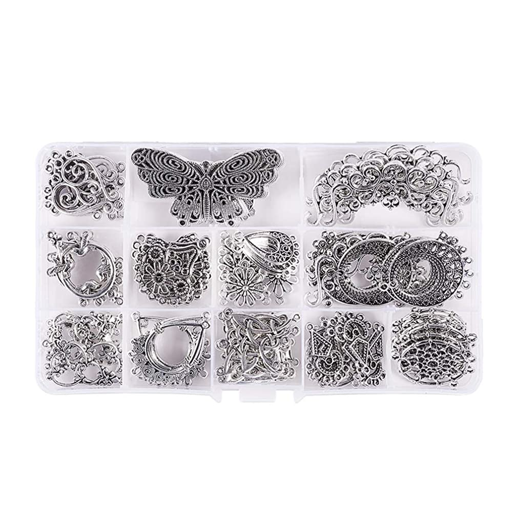 Pandahall Elite 90 PCS 15-Style Antique Silver Tibetan Earring Chandelier Earring Jewelry Making Kit for Earring Drop and Charm Pendant in Storage Box