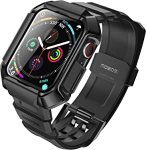 MOBOSI Compatible with Apple Watch Band 44mm Series 6/5/4/SE with Case, Military Grade Rugged Protective Case with TPU Sport Bands Strap for iWatch Series 6/5/4/SE -Black