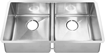 American Standard 18DB.9351800.075 Pekoe Undermount 35x18 Double Bowl Kitchen Sink with included drain and bottom grid, Stainless Steel
