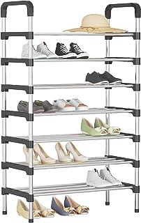 UDEAR Range Chaussures 7 Étages Organisateur de Rangement de Chaussures Noir,56 * 30 * 127 cm