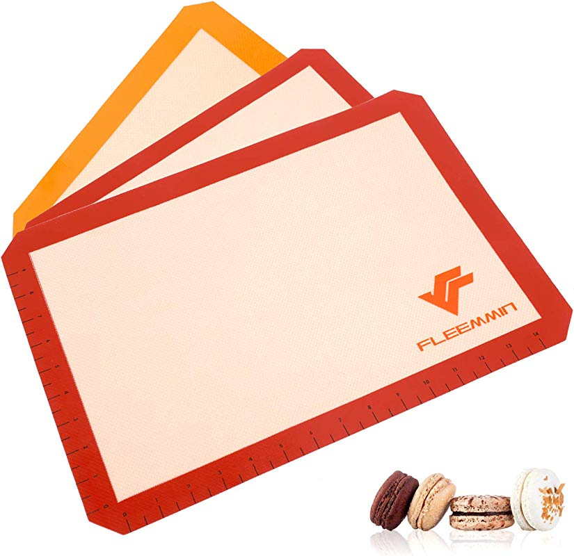 Premium Silicone Baking Mat Sheets Heat Resistant Bakeware For Bake Pans Rolling Macaron Pastry Cookie Bun Bread Making Safe Non Toxic Materials Non Stick Silicon Lining