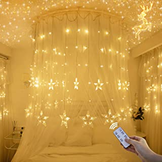 Christmas Decorations Star Curtain Lights With Remote Control, 12 Stars 138 LED Fairy String Lights, Window Decorative Lights with 8 Flashing Modes Gifts for Christmas, Wedding, Party, Home Decor