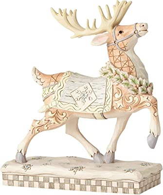 "Enesco Jim Shore Heartwood Creek White Woodland Prancing Reindeer Figurine, 8"", Multicolor"