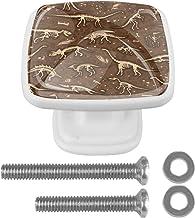 Dinosaurussen Fossielen Vierkante 4 Stks Kabinet Deurknoppen Witte Lade Trekt Handvat voor Kast Kaptafel met Schroeven 30mm