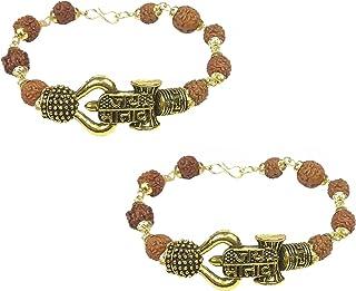 Utkarsh (Set Of 2 Pcs) Stylish Adjustable Jai Mata Di Rudraksha Brown Beads Mala Chain Om Mahadev Mahakaal Bolenath Lord S...