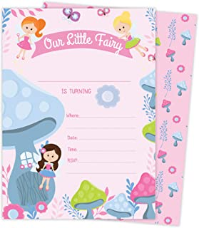 Fairy 2 Happy Birthday Invitations Invite Cards (25 Count) With Envelopes and Seal Stickers Vinyl Girls Kids Party (25ct)