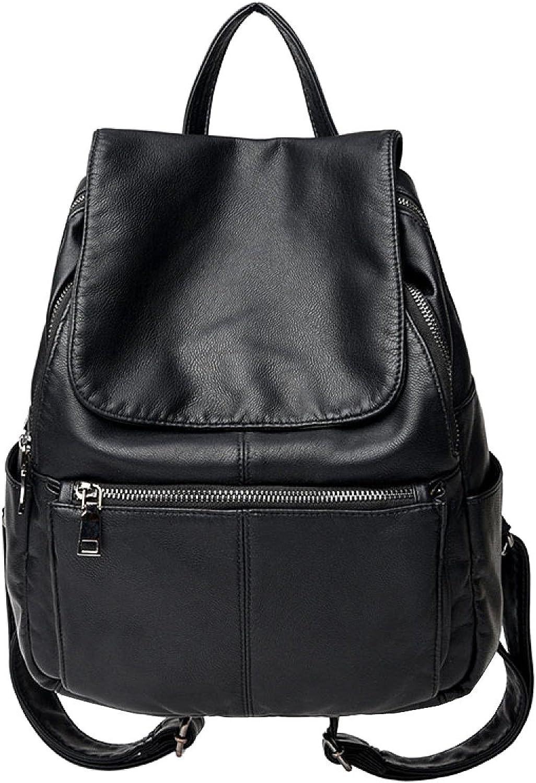 LAIDAYE Large Capacity Mummy Bag Pu Leather Shoulder Bag Fashion Retro Lady Backpack Leisure Travel Bag