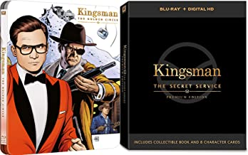 Eggsy The Premium Kingsman Secret Service Blu Ray Movie Part 1 & 2 with Collectible Book & Character cards + Golden Circle Exclusive Steelbook limited Edition set
