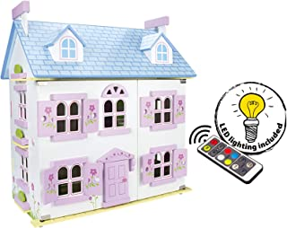 Leomark Dream House Casa de Muñecas de Madera con muñecas - Color Rosa - Villa (60 cm - altura), Equipo Completo, Excelente Calidad, Accesorios adicionales + LED + control remoto